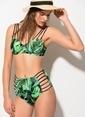 Dagi Yüksek Bel Kaplı Bikini Takım Yeşil